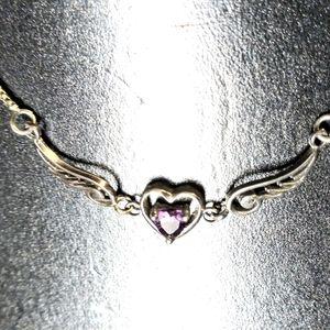 Silver purple heart necklace